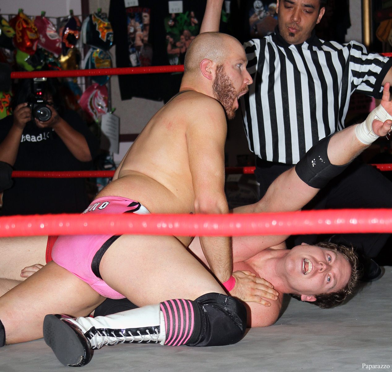 Buddy Romano can't believe that Andy McKenzie got a shoulder up before the three count at Lucky Pro Wrestling's Fall Frenzy show held on October 12, 2013 in Clinton, Massachusetts.
